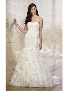 Trumpet/Mermaid Sweetheart Sweep/Brush Train Lace Satin Organza Wedding Dress With Sleeveless