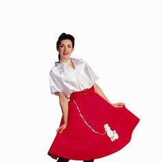 2af99e7e4a92 With this outfit, one will look straight out of a sock hop! From the satiny  top to the contrast color belt and finishing off with the classic poodle  dog at ...