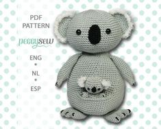 [:nl]Amigurumi haakpatroon Koala moeder en baby[:en]Amigurumi crochet pattern Koala mother and baby[:] - Peggy Sew Crochet Dolls, Crochet Yarn, Amigurumi Patterns, Crochet Patterns, Crochet Ideas, Pdf Patterns, Knitting Patterns, Baby Koala, Bear Toy