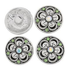 ZARABE Snap Button Fit Snap Bracelets Charms AB Rhinestone Flower Carve 20mm-1PC *** Click on the image for additional details.