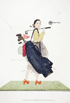 Kim,Hyun-Jung Official Site - Swag or Die : Spring of a Professional Housewife Korean Illustration, Photo Illustration, Korea Design, Korean Painting, Korean Hanbok, Korean Art, Illustrators, Fine Art, Asia