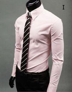 Men Slim Fit Shirt Button Front Style