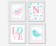 BIRDS Baby Nursery Wall Art PINK AQUA LOVE Personalized Monogram Baby Girl Nursery Decor Nursery Prints Bird Nursery Decor Baby Girl Decor Prints