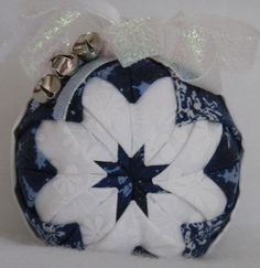 CHRISTMAS IN JULY,Quilted Christmas Ornament Blue & White by Codysquilts on Etsy, $15.00