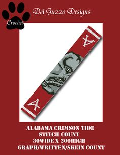 (4) Name: 'Crocheting : Alabama Crimson Tide 30x200