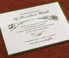 Floral #letterpress #wedding invitations for spring or summer weddings.