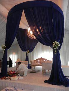Blue Mandap/chuppah - Close up Wedding Draping, Wedding Mandap, Wedding Canopy, Wedding Goals, Wedding Beauty, Simple Pakistani Dresses, Diy Outdoor Weddings, Wedding Stage Decorations, Chuppah