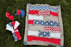 Red White and Blue Rag Quilt Baby Gift Set by BabyBazerk on Etsy