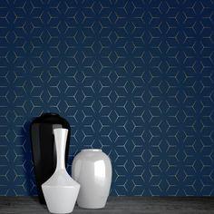 Blue wall Wallpaper - Metro Illusion Geometric Wallpaper Navy Blue and Gold Blue Wallpaper Bedroom, Navy Wallpaper, Trendy Wallpaper, Blue Wallpapers, Pattern Wallpaper, Office Wallpaper, Blue Feature Wall, Feature Wall Living Room, Kitchen Feature Wall