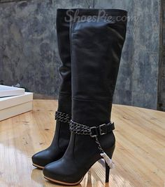 Sexy Black Genuine Leather Platform Metal Chain Knee High Boots