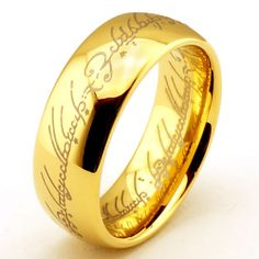 $11 - 6mm Tungsten Carbide Rings 18K Gold Plated The Lord of The Rings Free Shipping | eBay