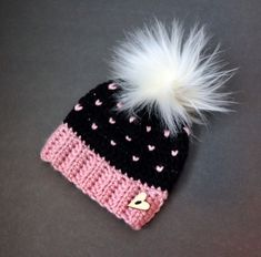 Excited to share this item from my shop: Crocheted Baby Beanie with Hearts & Faux Fur Pom Pom, Baby Hat with Hearts, Newborn Knit Baby Hat Crochet Baby Beanie, Crochet Beanie Pattern, Crochet Cap, Crochet Girls, Knitted Hats Kids, Baby Hats Knitting, Baby Knitting Patterns, Crochet Patterns, Faux Fur Pom Pom