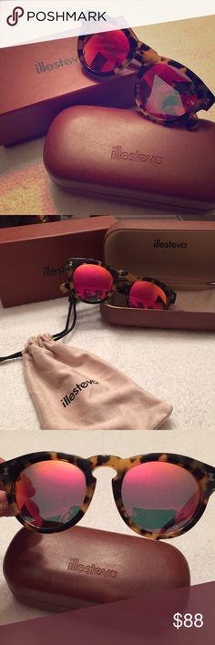 illesteva sunglasses Leonard Tortoise with Pink Mirrored Lenses. Authentic. Made it Italy. Illesteva Accessories Glasses