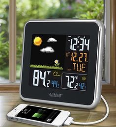 La Crosse Technology®'s Atomic Color Wireless Weather Station Weather Instruments, La Crosse, Wireless Speakers, Bluetooth, Digital Alarm Clock, Technology, Day, Color, Outdoors