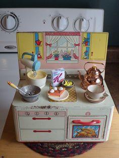 Ohio Art Co. Vintage Tin Toy Kitchen Stove w/LOTS of GOODIES!  Barbie Accessory