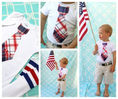 Baby Boy Leg Warmers & Vintage 4th of July Red, White and Blue Plaid Personalized Tie Onesie SET.  Any Name or Monogram Personalized.. $34.95, via Etsy.