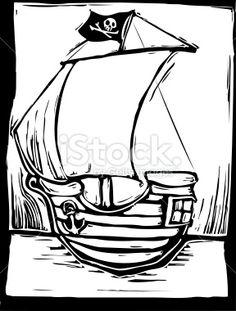 Playful Pirate Ship Royalty Free Stock Vector Art Illustration