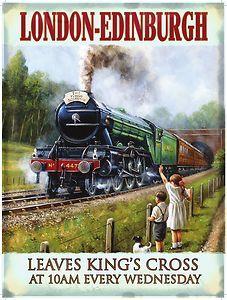 Advertising Signs The Flying Scotsman Steam Locomotive Lner Railway Train Uk Medium Metal Tin Sign Train Posters, Railway Posters, Vintage Advertisements, Vintage Ads, Vintage London, Vintage Metal, Flying Scotsman, British Travel, Train Art