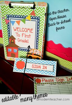 First Week Management Tools for Teachers; meet-the-teacher night forms, Back to School Parent Night Power Point Presentations; ready for you to customize and in many themes, $