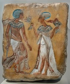 Walk in the Garden limestone relief of a royal couple in the Armana style; New Kingdom, 18th dynasty, c. 1335 BCA.