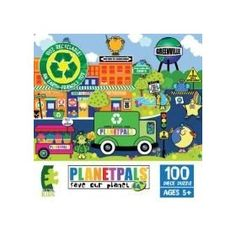 """PlanetPals Green n Clean GREENVILLE Recycled Puzzle 100 Pieces      Product Features  Finished Size 15"""" x 11  Pieces: 100  Manufacturer: Ceaco  Recommended Age: 3+  Artist: Judith Gorgone www.Planetpals.com"""