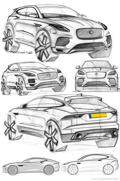 2018 Jaguar E-Pace compact SUV design sketches.