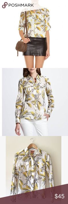 "Tory Burch Brigitte Button Down Blouse Wheat I'm obsessed with this print! Super lightweight with shiny yellow buttons. This blouse is tailored to perfection and 100% cotton.   24.5"" long  17"" armpit to armpit   Ships from Hawaii 🌺 No trades 😇 Offers welcome 👍🏻 Bundle & save 💰 Tory Burch Tops Button Down Shirts"