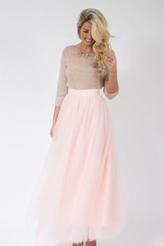 After Dark Maxi Tulle Skirt - Blush Pink