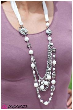 $5 with earrings, all the time! www.paparazziaccessories.com/27069 white ribbon necklace