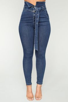 Make It Obvious Belted Skinny Jeans - Dark Denim Dungaree Jeans, Faded Jeans, Ripped Jeggings, Ripped Skinny Jeans, Beste Jeans, Most Comfortable Jeans, Best Jeans For Women, Cargo Pants Women, Hot Pants