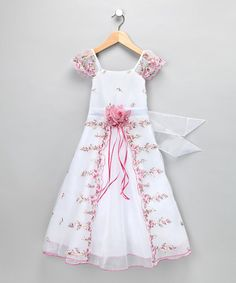Another great find on #zulily! Ivory & Pink Floral Angel-Sleeve Dress - Toddler & Girls #zulilyfinds