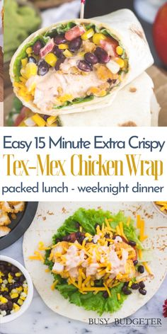 These easy crispy tex mex chicken wraps are the perfect 15 minute meal for busy weeknight dinners or an easy to pack lunch idea. It's a quick easy chicken recipe for kids or for families or even for two that can be made fast and cheap. I mean really, who doesn't love Tex-Mex Chicken! #easydinner #easylunch #15minutemeal