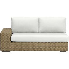 Newport Modular Left Arm Loveseat with Sunbrella® White Sand Cushions in Newport | Crate and Barrel
