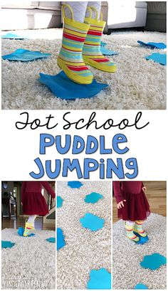 Learning is more fun when it involves movement! Have fun getting those wiggles out with this gross motor ppuddle jumping activity, perfect for a weather theme. Great for tot school, preschool, or even kindergarten!