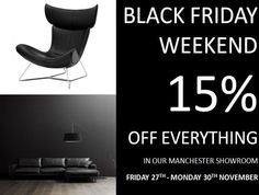SAVE 15% this weekend on all orders in our Manchester Showroom. #BoConcept #Manchester #BlackFridayWeekend #Sofa #Black #Leather #Fabric #Interiors #Design #Danish #Urban #Sale #Oak #Walnut