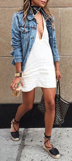 #summer #outfits  Denim Jacket + White Dress + Black Sandals