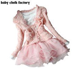 Frete grátis 2016 do bebê da mola conjuntos de roupas meninas 2 peças terno meninas flor casaco + camisa branca de T com saia tutu meninas roupas em Conjuntos de roupas de Mãe & Kids no AliExpress.com | Alibaba Group