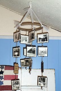 Vintage Photo Mobile -- lovely idea for a wedding, a nursery or just a favorite spot in your home. Instructions from live, love scrap.