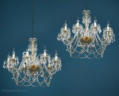 Antiques Atlas - Pair Ten Branch Chandeliers C.1950. Branch Chandelier, Chandeliers, Brass Fittings, Antique Lighting, Crystal Drop, Antique Shops, Bulb, Ceiling Lights, Candles