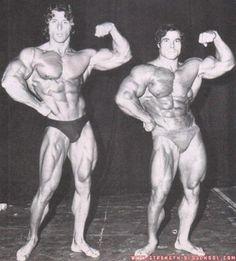 Frank Zane with the legendary strongman Franco Columbo.