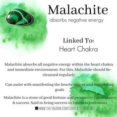 "Crystal Bae💜 on Instagram: ""💚Good Evening!💚 . Let's Talk malachite. Malachite is a stone of success, opportunity and love. It is also a protective Stone that absorbs…"" Chakra Crystals, Crystals And Gemstones, Stones And Crystals, Reiki Healer, Gemstone Properties, Angel Aura Quartz, Crystal Healing Stones, Crystal Meanings, Crystal Collection"