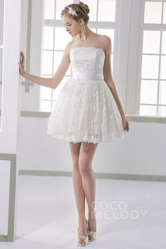 a55993ce Cute A-Line Strapless Natural Short-Mini Lace Ivory Sleeveless Lace  Up-Corset