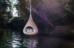 This serene little pod is a NESTREST, designed by Paris' Daniel Pouzet and Fred Frety. It's described as an over-sized bird's nest that's perfect for relaxation, meditation and open-air conversations.