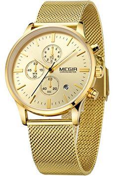 Megir Herren Elegant Schwarz Gold Silber Casual Luxury Chronograph Sport stylische Analog Quarz Marken Uhr - http://uhr.haus/findtime/megir-herren-elegant-schwarz-gold-silber-casual