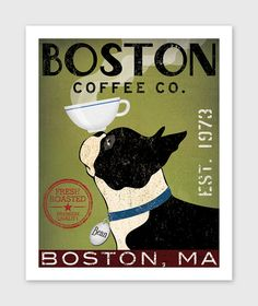 BOSTON TERRIER  Coffee Co. ILLUSTRATION Giclee Print 8x10 or 11x14  inches signed
