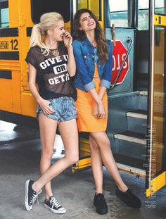 High school never ends fashion editorial Nelly Magazine Models Taylor Hill and Hanna G Photography Per Norberg Art direction Tammie Söderberg Stylist Felicia Carlsson