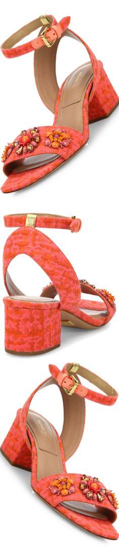 Michael Kors S/S 2017 Collection Sam Jeweled Jacquard Block-Heel Sandals