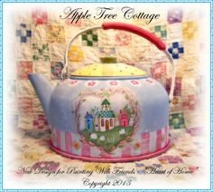 """Terrye French Designs """"Painting with Friends"""". Painted Pots, Hand Painted, Vintage Tea Kettle, Decoupage, Teapot Cookies, Country Paintings, Rose Tea, Cottage Design, Chocolate Pots"""
