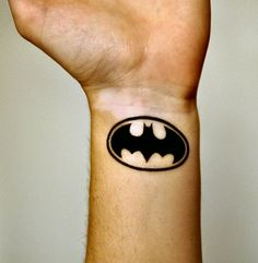 80e9be784 Solid Black Ink Simple Batman Symbol Mens Thigh Tattoos | Batman ...