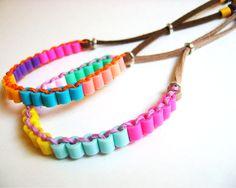 Colorblock Perler Tube Beads Friendship Bracelets door KnotSoFancy